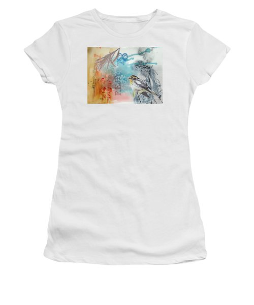 Women's T-Shirt featuring the mixed media Song Of Life  by Rose Legge