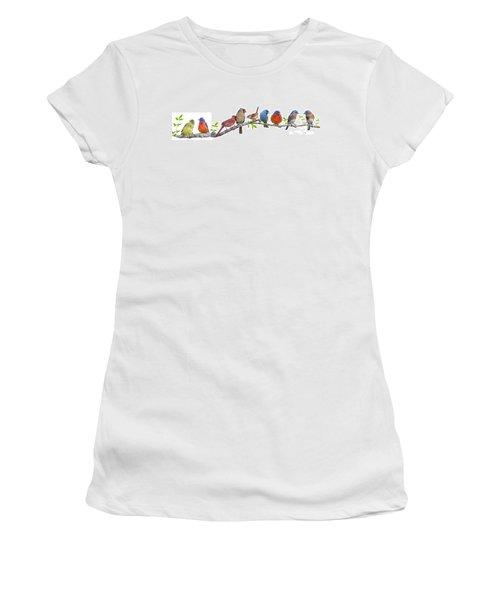 Songbirds On A Leafy Branch Women's T-Shirt (Junior Cut) by Bonnie Barry