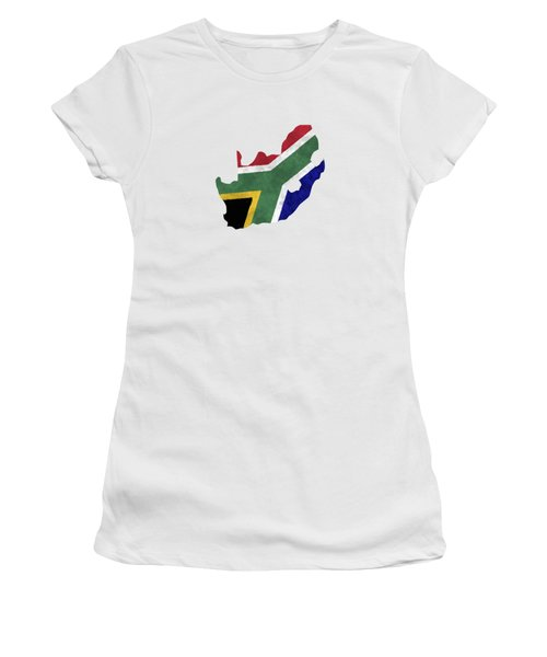 South Africa Map Art With Flag Design Women's T-Shirt