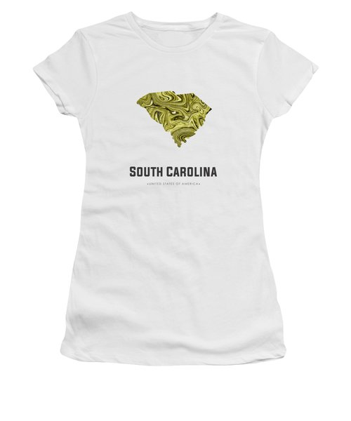 South Carolina Map Art Abstract In Olive Women's T-Shirt