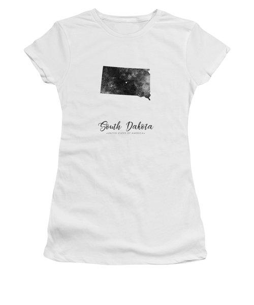 South Dakota State Map Art - Grunge Silhouette Women's T-Shirt