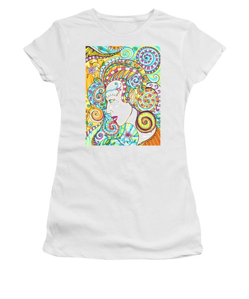 Women's T-Shirt (Junior Cut) featuring the drawing Spiraled Out Of Control by Shawna Rowe