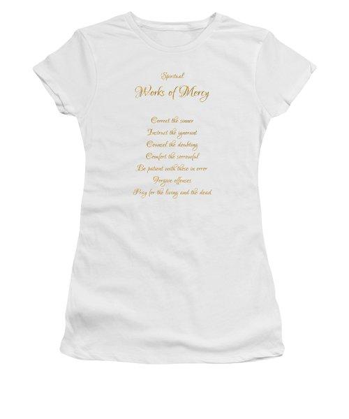 Spiritual Works Of Mercy White Background Women's T-Shirt