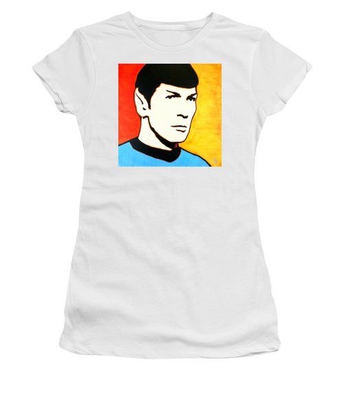 Women's T-Shirt (Athletic Fit) featuring the painting Spock Vulcan Star Trek Pop Art by Bob Baker
