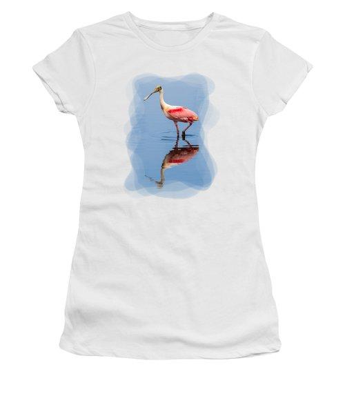 Spoonbill 3 Women's T-Shirt (Junior Cut) by John M Bailey