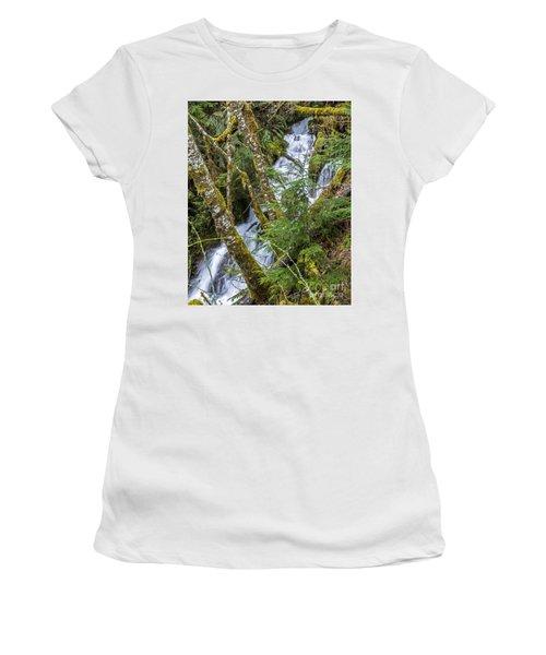 Spring Cascade Women's T-Shirt (Junior Cut) by Chuck Flewelling