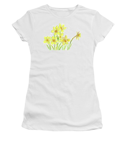 Women's T-Shirt (Junior Cut) featuring the painting Spring Daffodils by Cathie Richardson