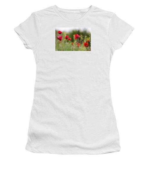 Spring Poppies  Women's T-Shirt (Junior Cut) by Perry Van Munster