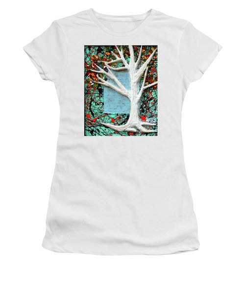 Women's T-Shirt (Junior Cut) featuring the painting Spring Serenade With Tree by Genevieve Esson