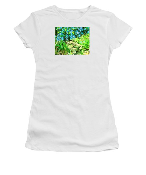 Spring Wood Path  Women's T-Shirt (Athletic Fit)