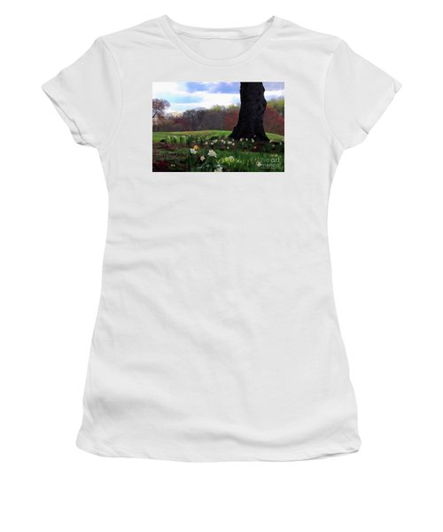 Women's T-Shirt (Junior Cut) featuring the photograph Springing Forward At Edgemont Golf Course by Polly Peacock