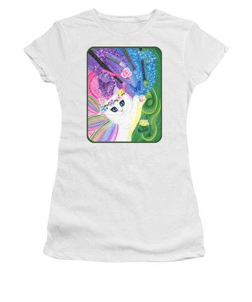 Women's T-Shirt (Athletic Fit) featuring the painting Springtime Magic - White Fairy Cat by Carrie Hawks