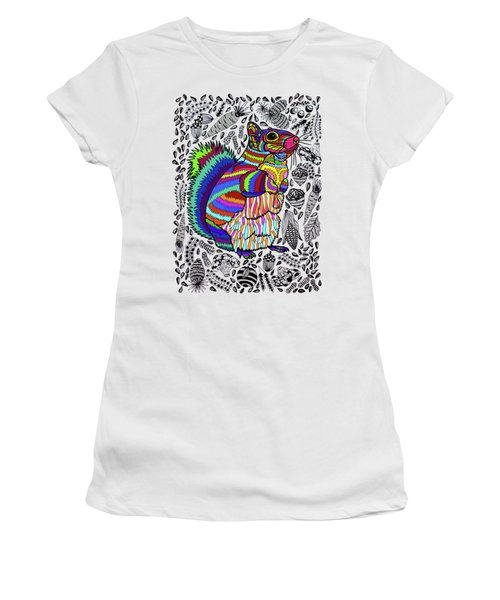 Squirrel Women's T-Shirt (Junior Cut) by ZileArt