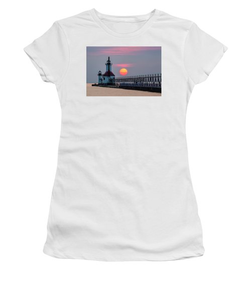 Women's T-Shirt (Athletic Fit) featuring the photograph St. Joseph Lighthouse At Sunset by Adam Romanowicz