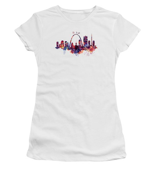 Women's T-Shirt (Junior Cut) featuring the digital art St Louis Skyline by Marian Voicu