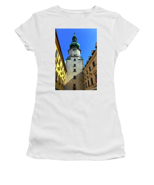 St Michael's Tower In The Old City, Bratislava, Slovakia, Europe Women's T-Shirt (Junior Cut) by Elenarts - Elena Duvernay photo