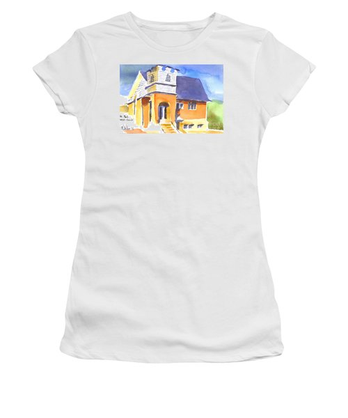 Women's T-Shirt (Junior Cut) featuring the painting St Paul Lutheran 3 by Kip DeVore