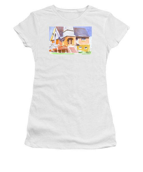 Women's T-Shirt (Junior Cut) featuring the painting St. Paul Lutheran Ironton Missouri by Kip DeVore