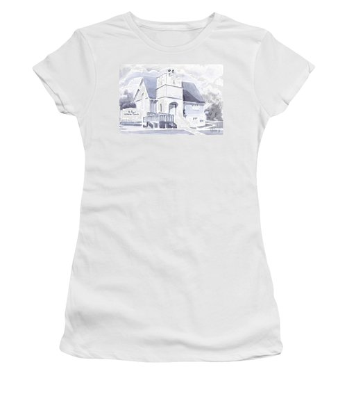Women's T-Shirt (Junior Cut) featuring the painting St. Paul Lutheran Church 2 by Kip DeVore
