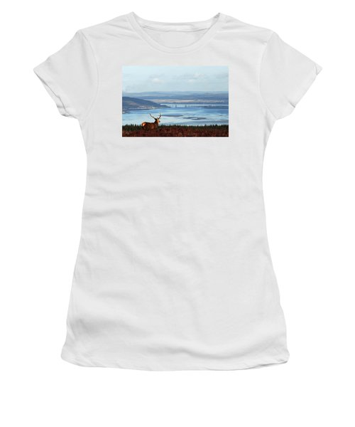 Stag Overlooking The Beauly Firth And Inverness Women's T-Shirt (Athletic Fit)