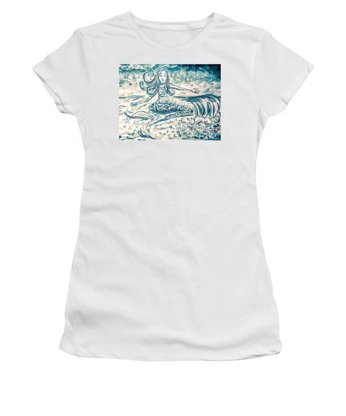 Women's T-Shirt featuring the painting Star Bearer Mermaid by Monique Faella