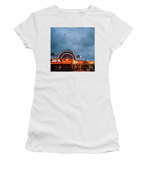 Starlings Over The Neon Lights Of Aberystwyth Pier Women's T-Shirt