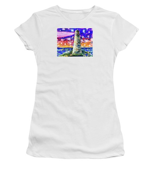 Women's T-Shirt featuring the painting Starry Light by Monique Faella