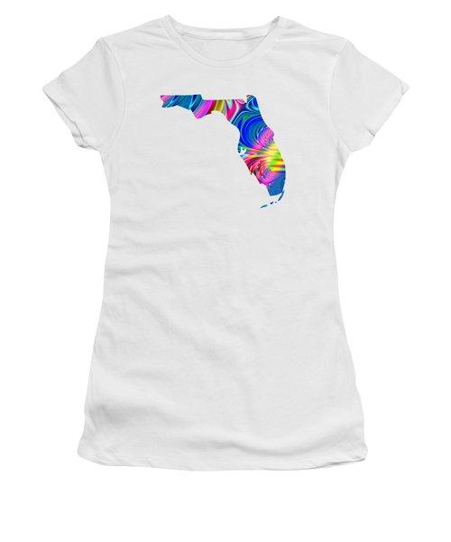 State Of Florida Map Rainbow Splash Fractal Women's T-Shirt