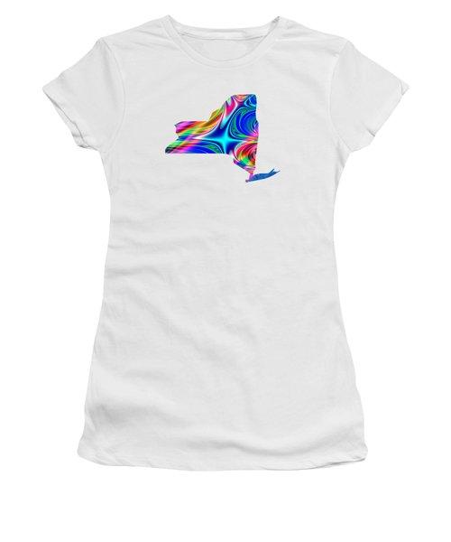 State Of New York Map Rainbow Splash Fractal Women's T-Shirt