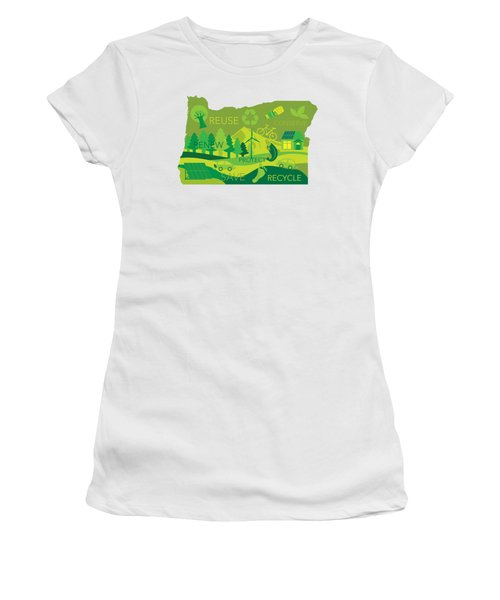 State Of Oregon Map Environment Eco Outline Women's T-Shirt (Athletic Fit)