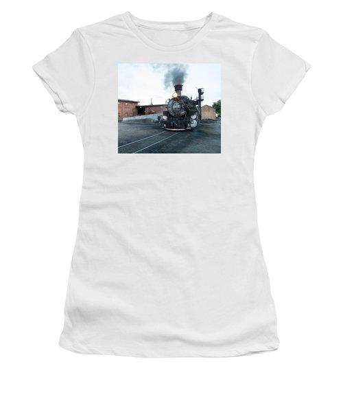 Steam Locomotive In The Train Yard Of The Durango And Silverton Narrow Gauge Railroad In Durango Women's T-Shirt (Junior Cut) by Carol M Highsmith