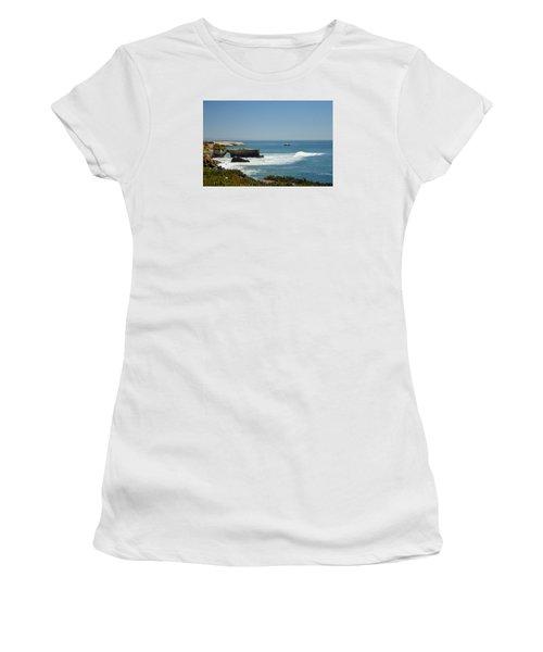 Steamer Lane, Santa Cruz Women's T-Shirt (Junior Cut) by Antonia Citrino