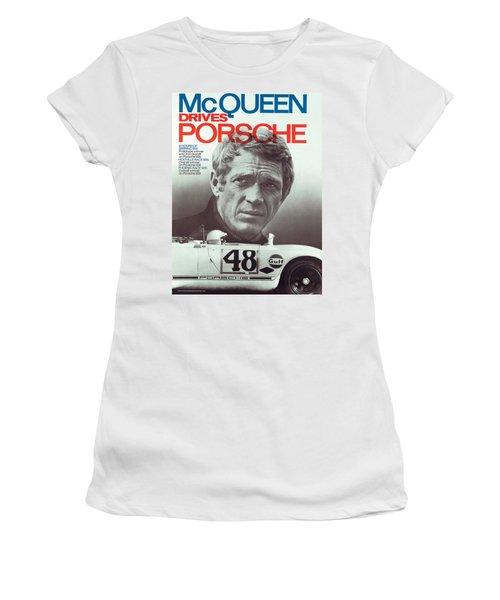 Steve Mcqueen Drives Porsche Women's T-Shirt