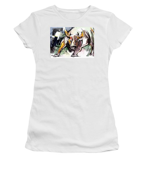 Stock Market Bull Women's T-Shirt (Junior Cut) by John Jr Gholson
