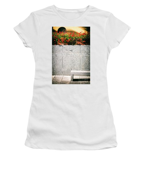 Women's T-Shirt (Junior Cut) featuring the photograph Stone Bench With Flowers by Silvia Ganora