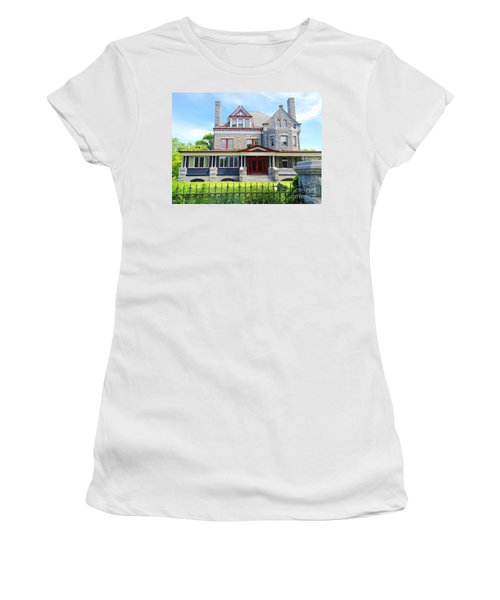 Women's T-Shirt (Junior Cut) featuring the photograph Stone Mansion Red Doors by Becky Lupe