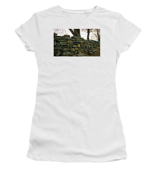 Women's T-Shirt (Junior Cut) featuring the photograph Stone Wall, Colt State Park by Nancy De Flon