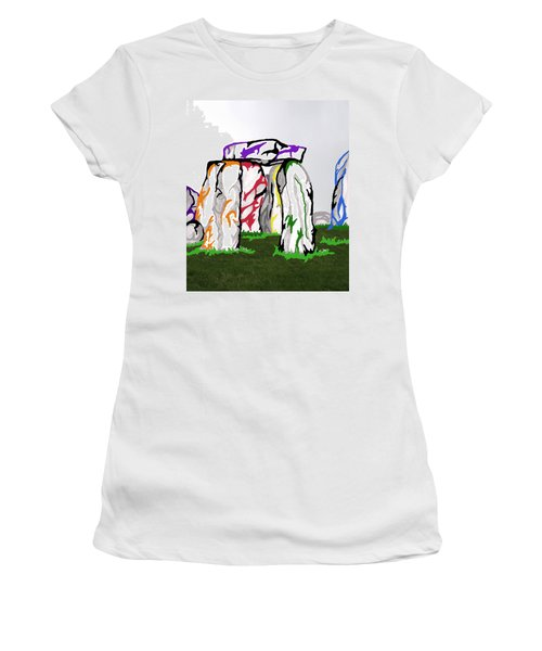 Women's T-Shirt (Junior Cut) featuring the mixed media Stonehenge Chakras by Mary Mikawoz