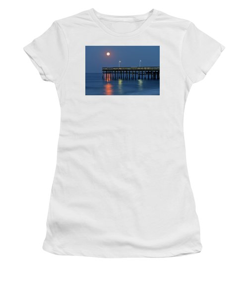 Strawberry Moon Over Sandbridge Women's T-Shirt (Athletic Fit)
