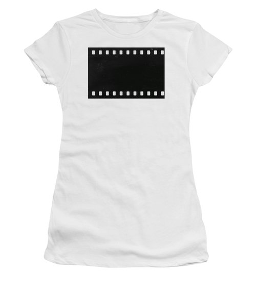 Women's T-Shirt (Junior Cut) featuring the photograph Strip Of Old Celluloid Film With Dust And Scratches by Michal Boubin