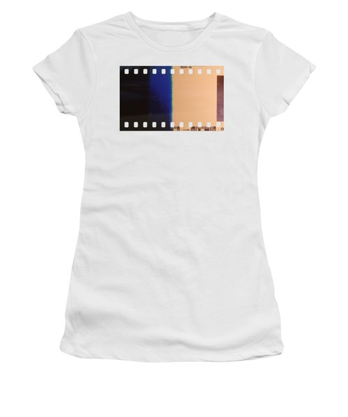 Women's T-Shirt (Junior Cut) featuring the photograph Strip Of The Poorly Exposed And Developed Celluloid Film by Michal Boubin