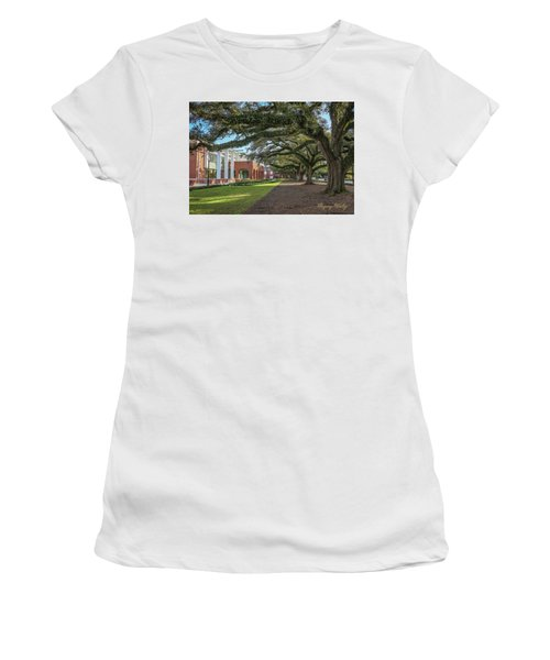 Women's T-Shirt (Junior Cut) featuring the photograph Student Union Oaks by Gregory Daley  PPSA