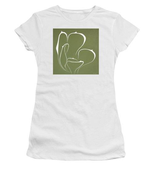 Women's T-Shirt (Junior Cut) featuring the painting Succulent In Green by Ben Gertsberg