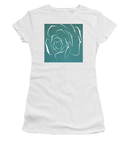 Women's T-Shirt (Athletic Fit) featuring the painting Succulent In Turquoise by Ben Gertsberg