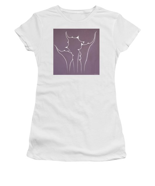 Women's T-Shirt (Athletic Fit) featuring the painting Succulent In Violet by Ben Gertsberg
