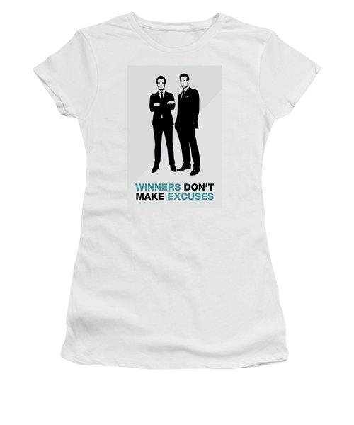 Suits Tv Show Poster Harvey Quote - Winners Don't Make Excuses Women's T-Shirt (Athletic Fit)