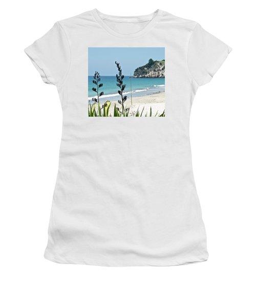 Women's T-Shirt (Junior Cut) featuring the photograph Summer New Zealand Beach by Yurix Sardinelly
