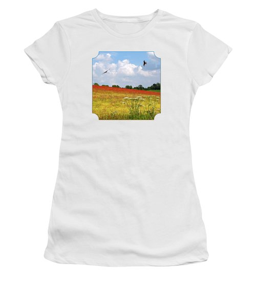 Summer Spectacular - Red Kites Over Poppy Fields - Square Women's T-Shirt