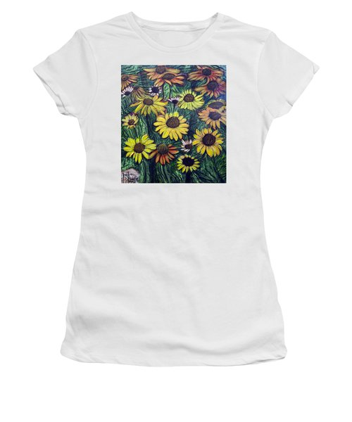Women's T-Shirt (Junior Cut) featuring the painting Summertime Flowers by Ron Richard Baviello