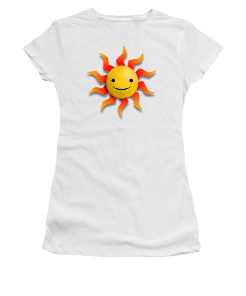 Women's T-Shirt (Junior Cut) featuring the digital art Sun Face No Background by John Wills